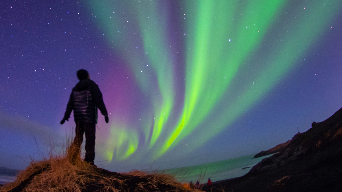 Man gazing at the northern lights
